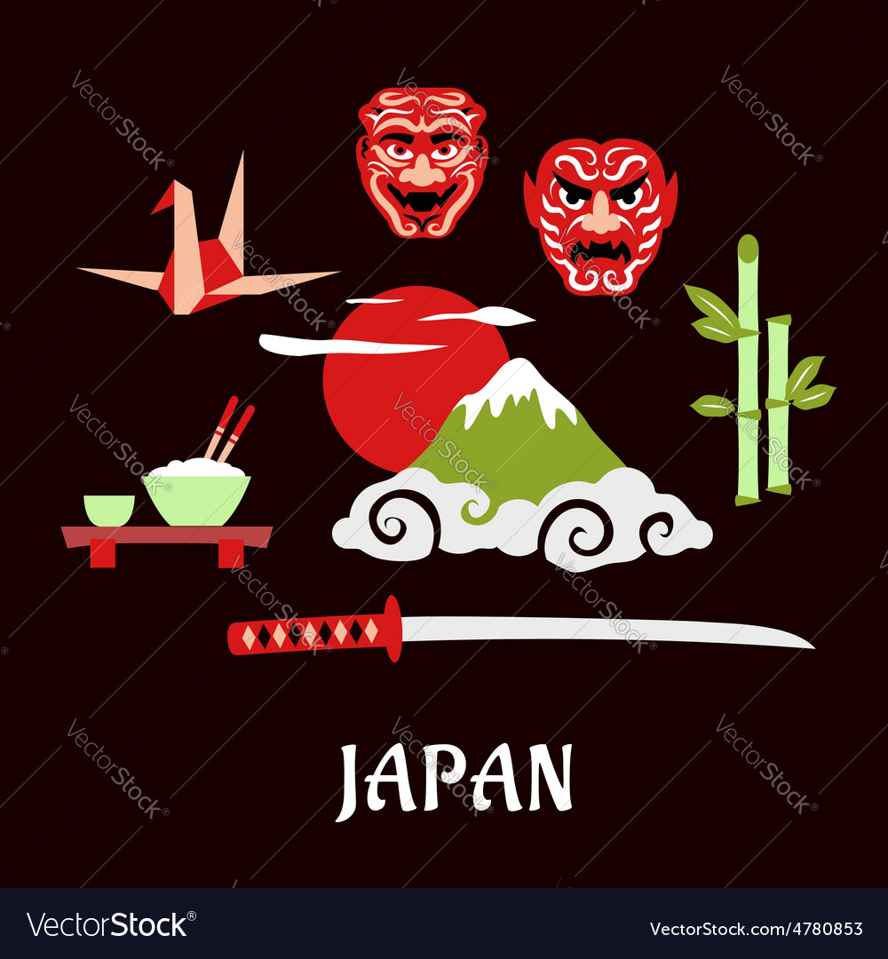 Japan travel flat concept with cultural symbols vector | Price: 1 Credit (USD $1)