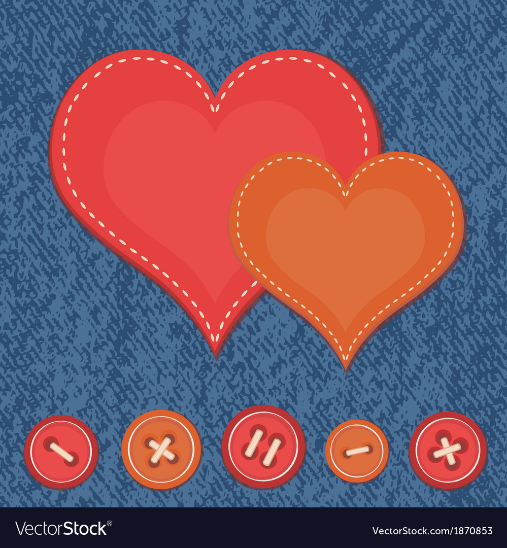 Jeans background with two hearts vector | Price: 1 Credit (USD $1)