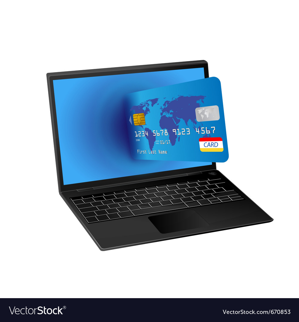 Laptop computer and credit card vector | Price: 1 Credit (USD $1)