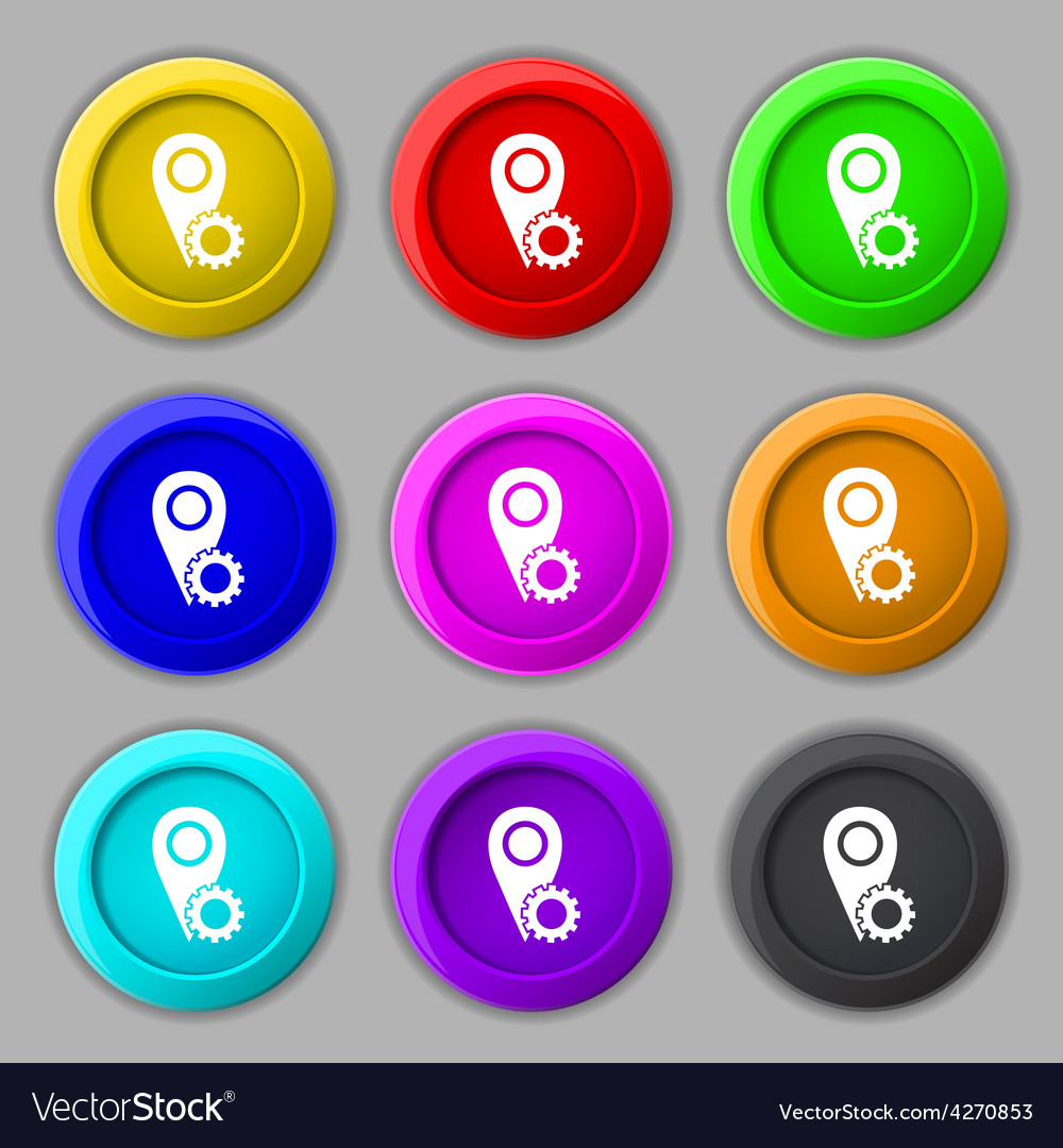 Map pointer setting icon sign symbol on nine round vector | Price: 1 Credit (USD $1)