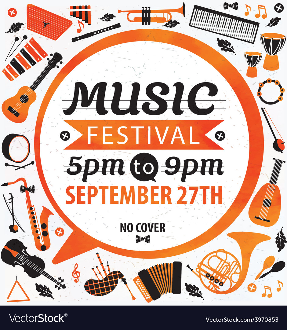 Music festival music flyer vector | Price: 1 Credit (USD $1)