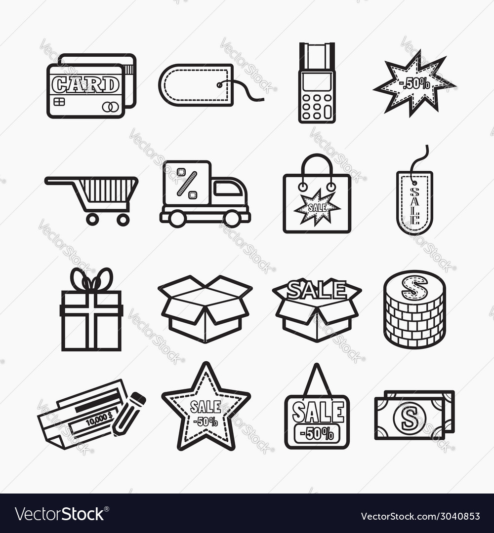 Shopping icons set vector | Price: 1 Credit (USD $1)