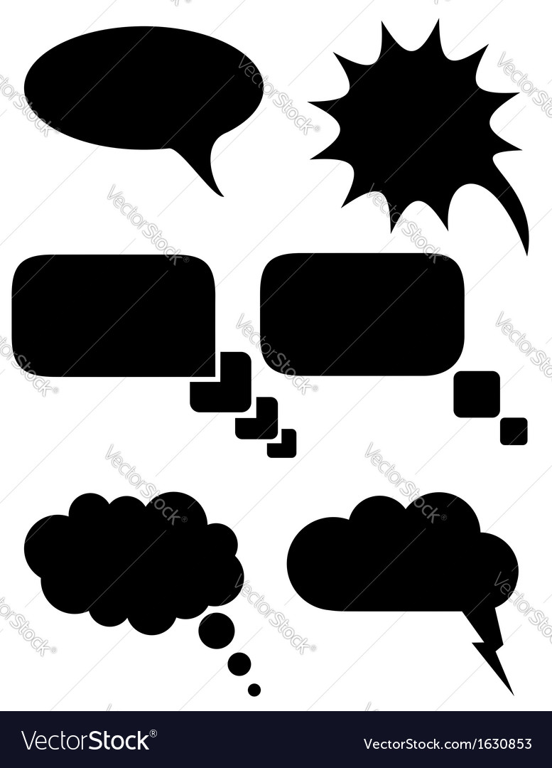 Speech bubbles dreams black and white vector | Price: 1 Credit (USD $1)