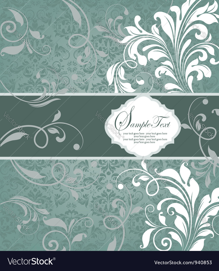 Vintage blue damask invitation with floral element vector | Price: 1 Credit (USD $1)