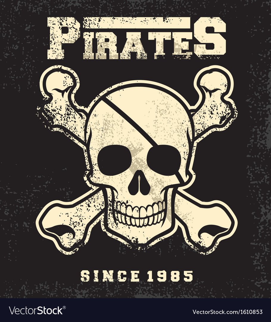 Vintage pirate skull mascot vector | Price: 1 Credit (USD $1)