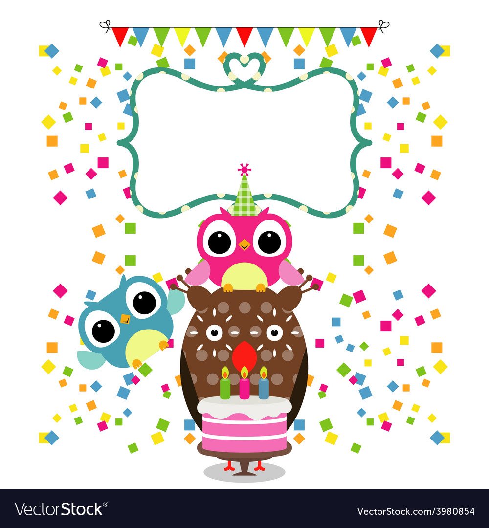 Birthday party card with funny birds vector | Price: 1 Credit (USD $1)