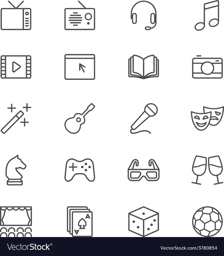 Entertainment thin icons vector | Price: 1 Credit (USD $1)