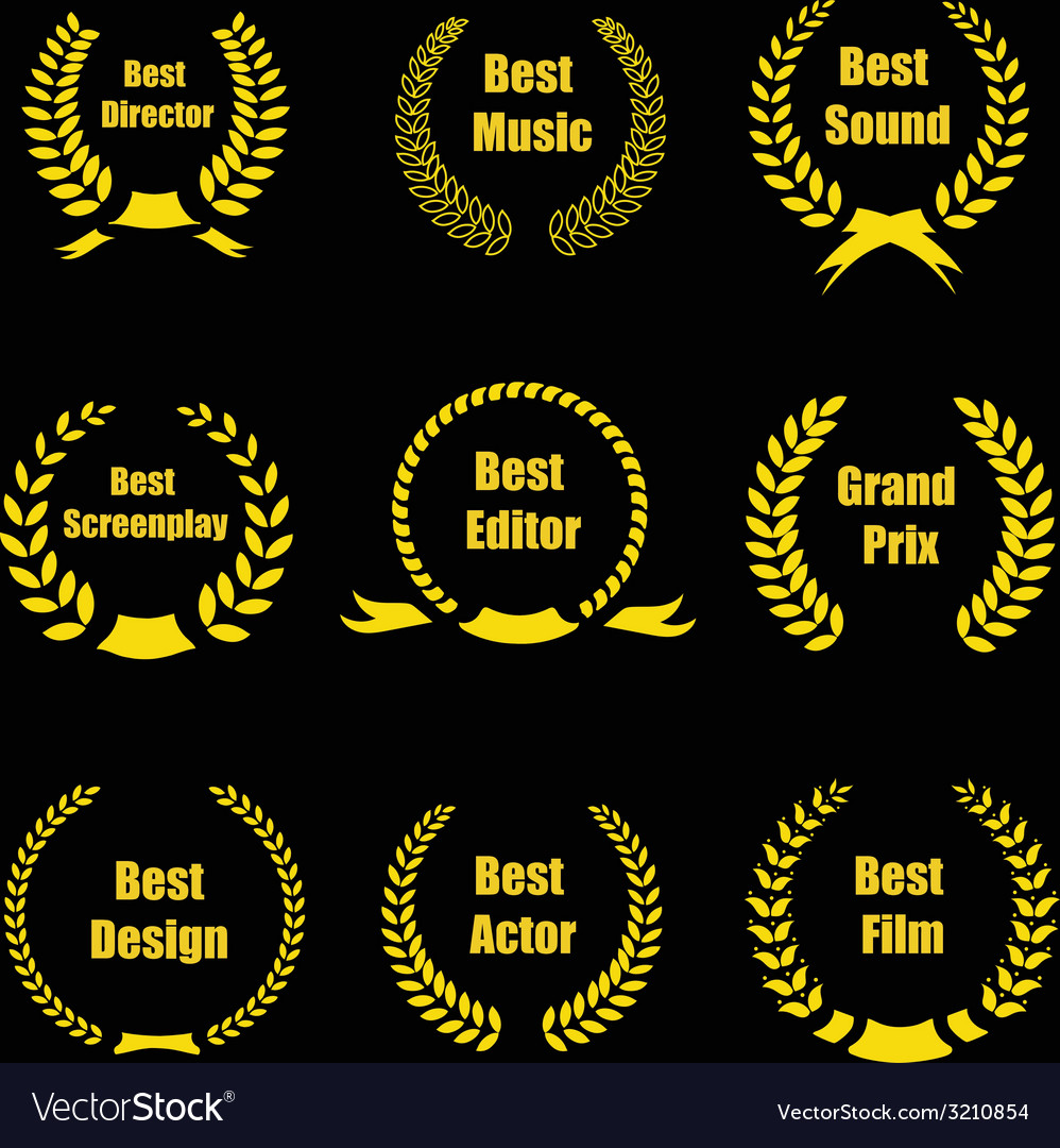 Film awards gold award wreaths on black background vector | Price: 1 Credit (USD $1)
