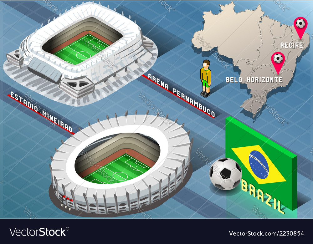 Isometric stadium of recife and belo horizonte vector | Price: 1 Credit (USD $1)
