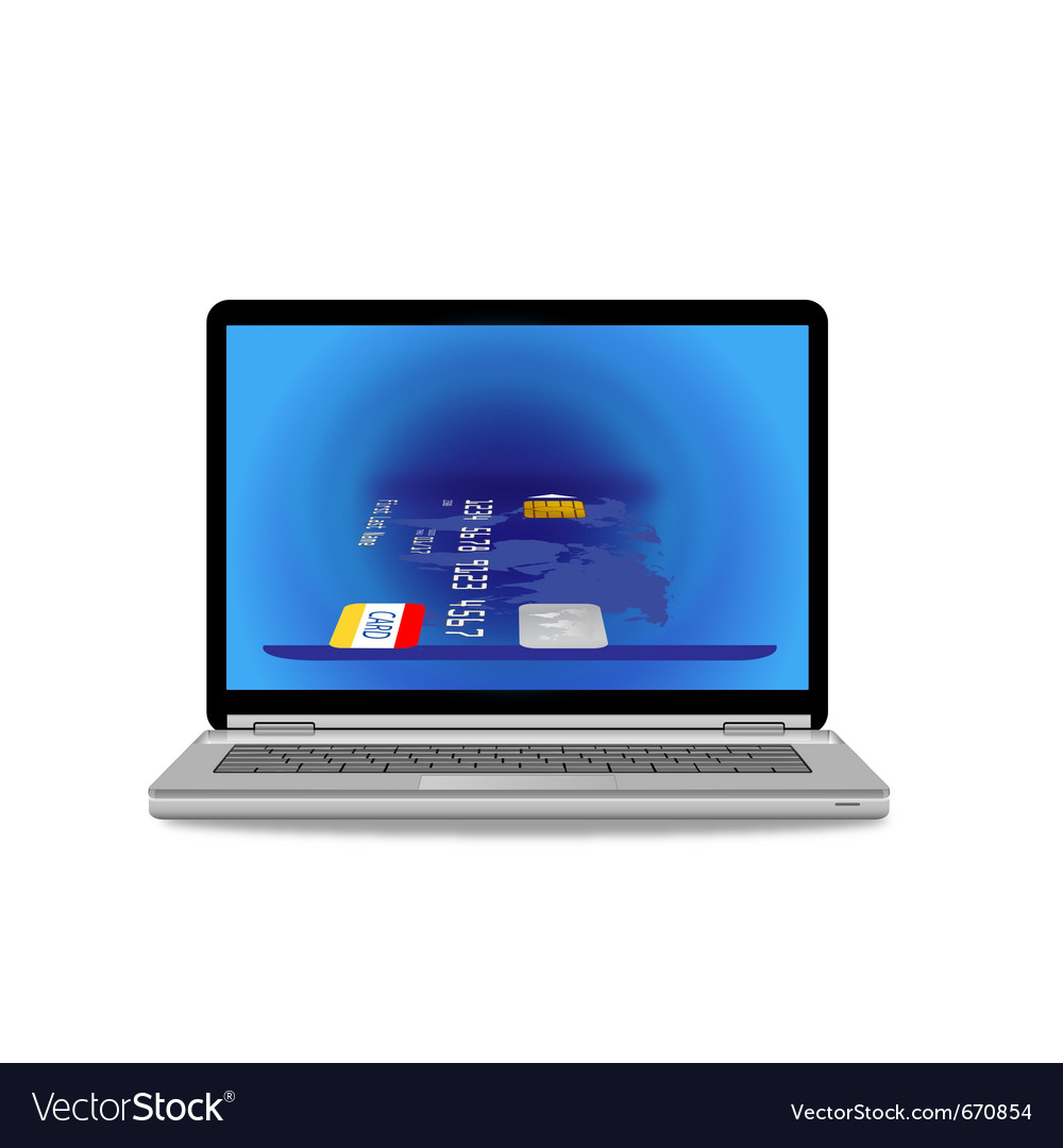 Laptop computer and credit card vector   Price: 1 Credit (USD $1)