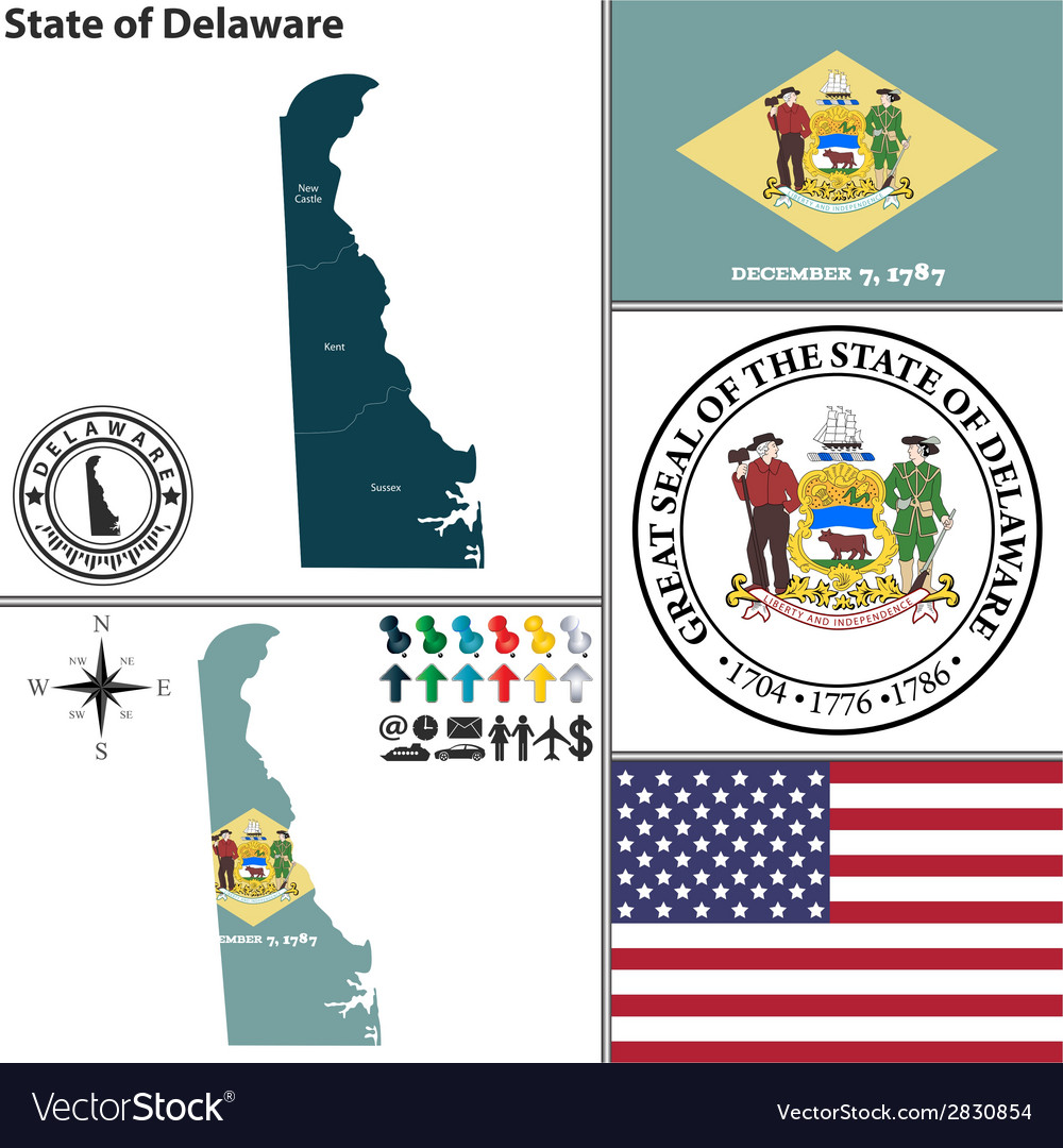 Map of delaware with seal vector | Price: 1 Credit (USD $1)