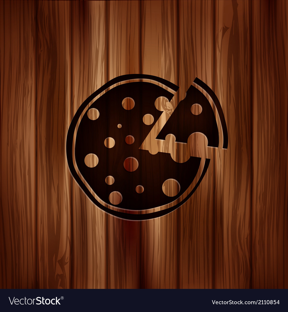 Pizza web icon wooden texture vector | Price: 1 Credit (USD $1)