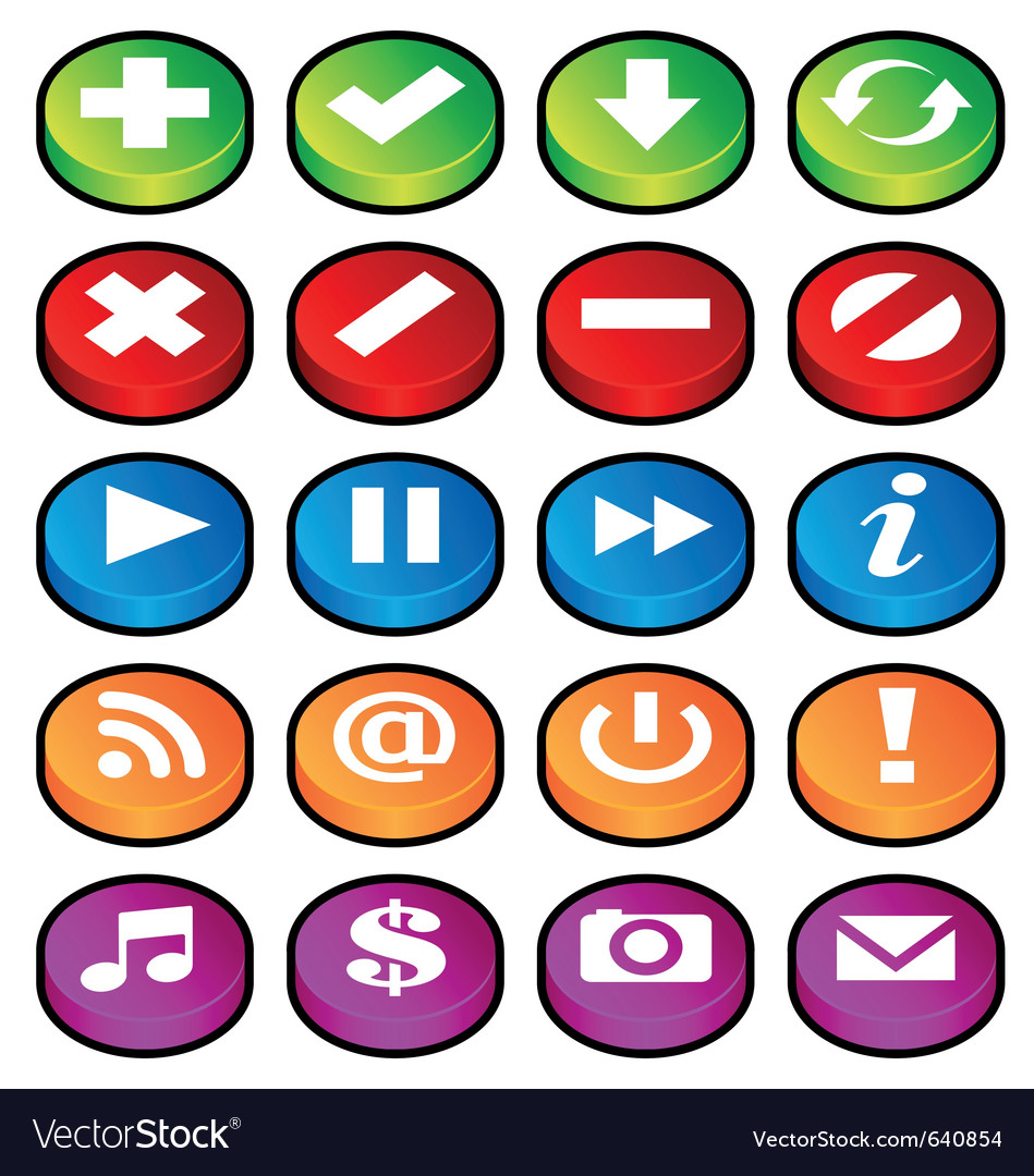 Puck button icons vector | Price: 1 Credit (USD $1)