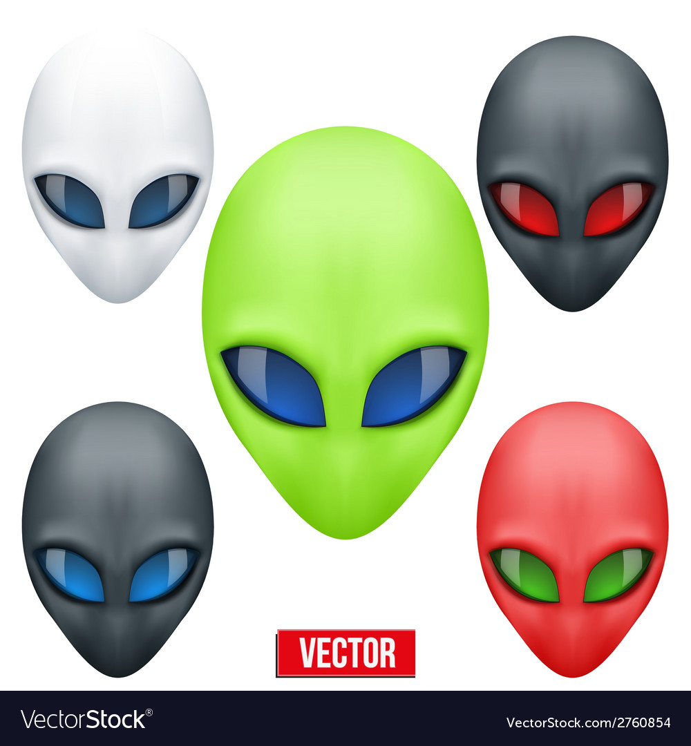 Set of alien head creature from another world vector | Price: 1 Credit (USD $1)