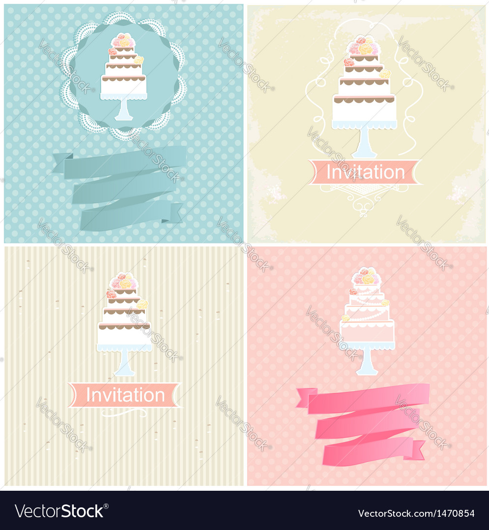 Set of invitation designs with cakes vector | Price: 3 Credit (USD $3)