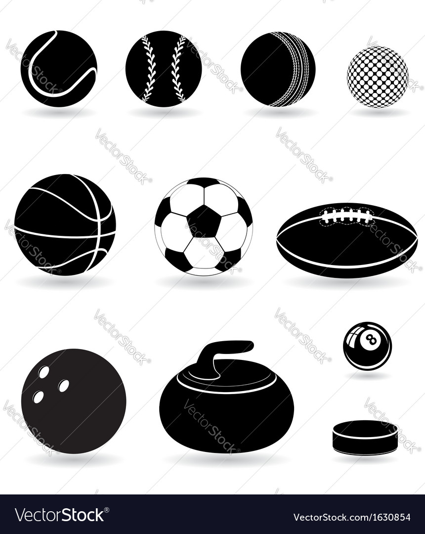 Sport balls black and white vector | Price: 1 Credit (USD $1)