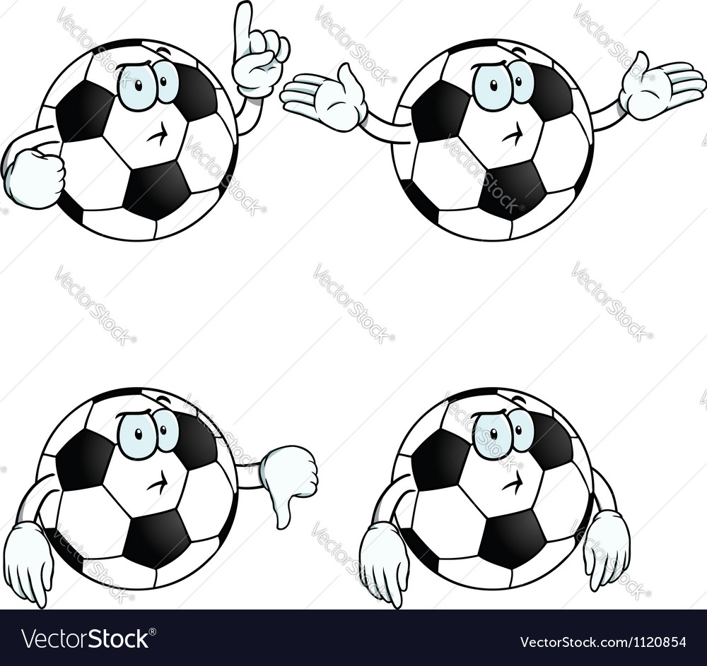 Thinking cartoon football set vector | Price: 1 Credit (USD $1)