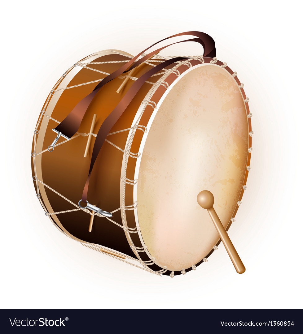 Traditional turkish drum isolated on white vector | Price: 3 Credit (USD $3)