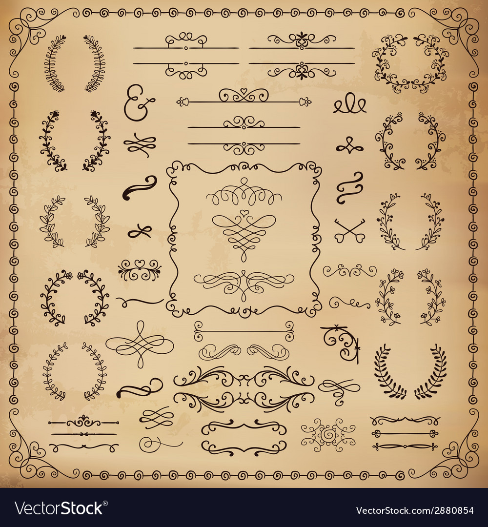 Vintage hand drawn design elements vector | Price: 1 Credit (USD $1)