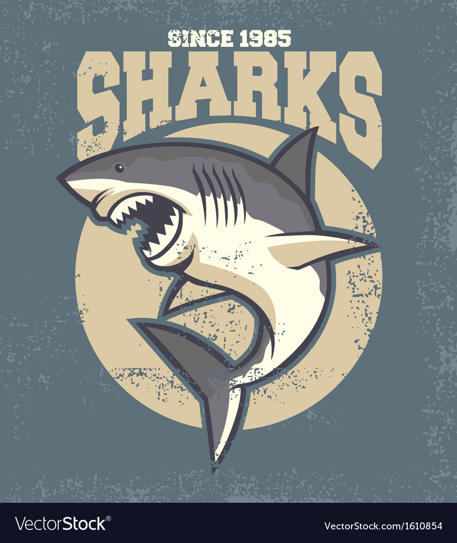 Vintage shark mascot vector | Price: 1 Credit (USD $1)