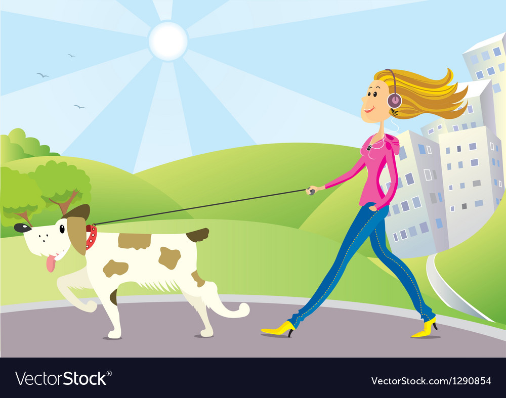 Woman and dog on walk vector | Price: 3 Credit (USD $3)
