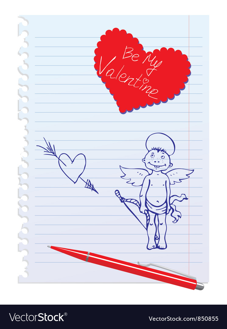 Card with hand-drawn sketchy angel vector | Price: 1 Credit (USD $1)