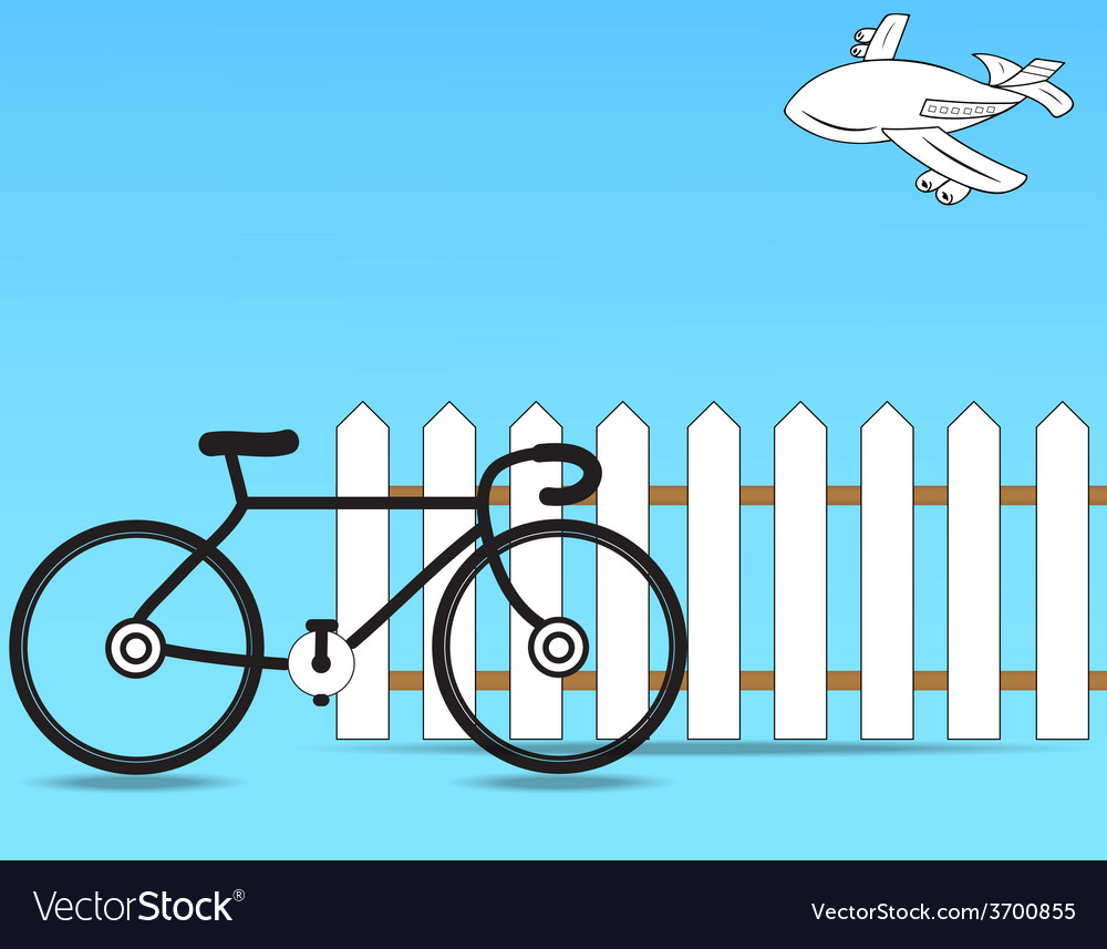 Fence with a bicycle vector | Price: 1 Credit (USD $1)