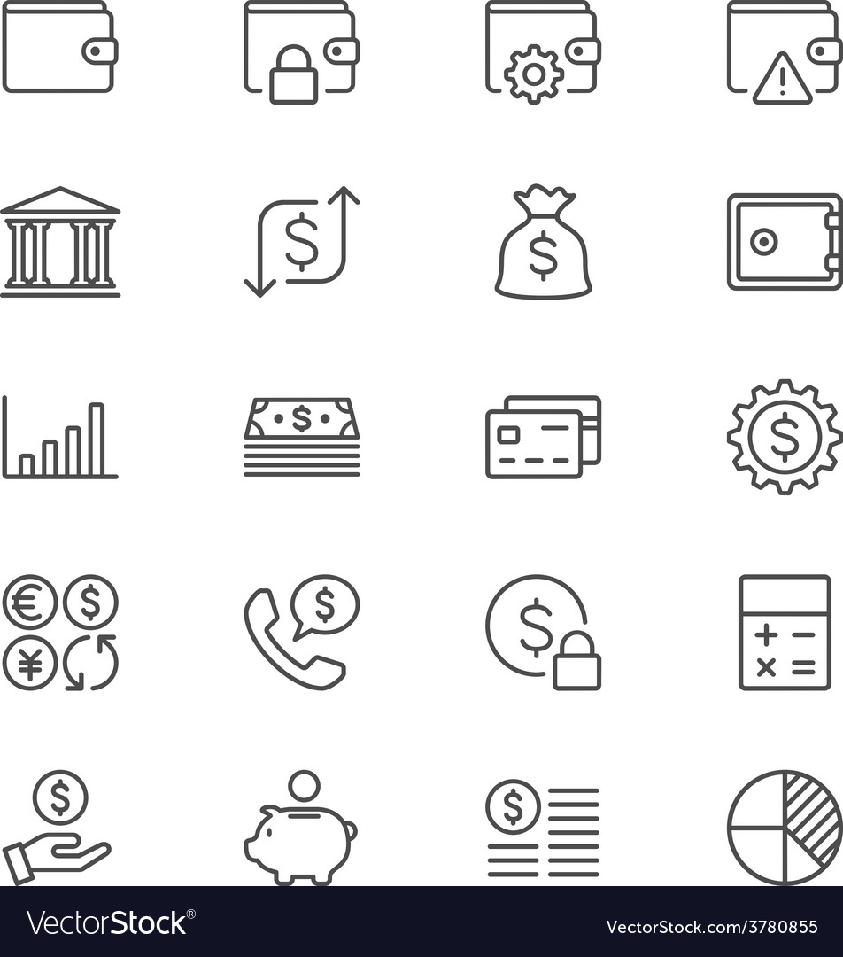 Financial management thin icons vector   Price: 1 Credit (USD $1)