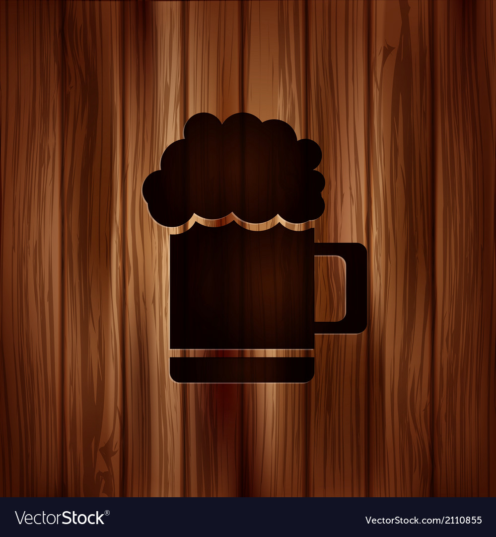 Glass of beer web icon wooden texture vector | Price: 1 Credit (USD $1)
