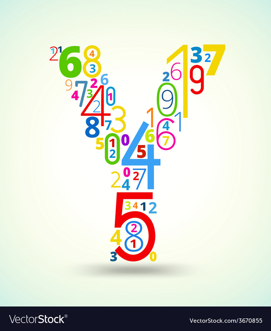 Letter y colored font from numbers vector | Price: 1 Credit (USD $1)