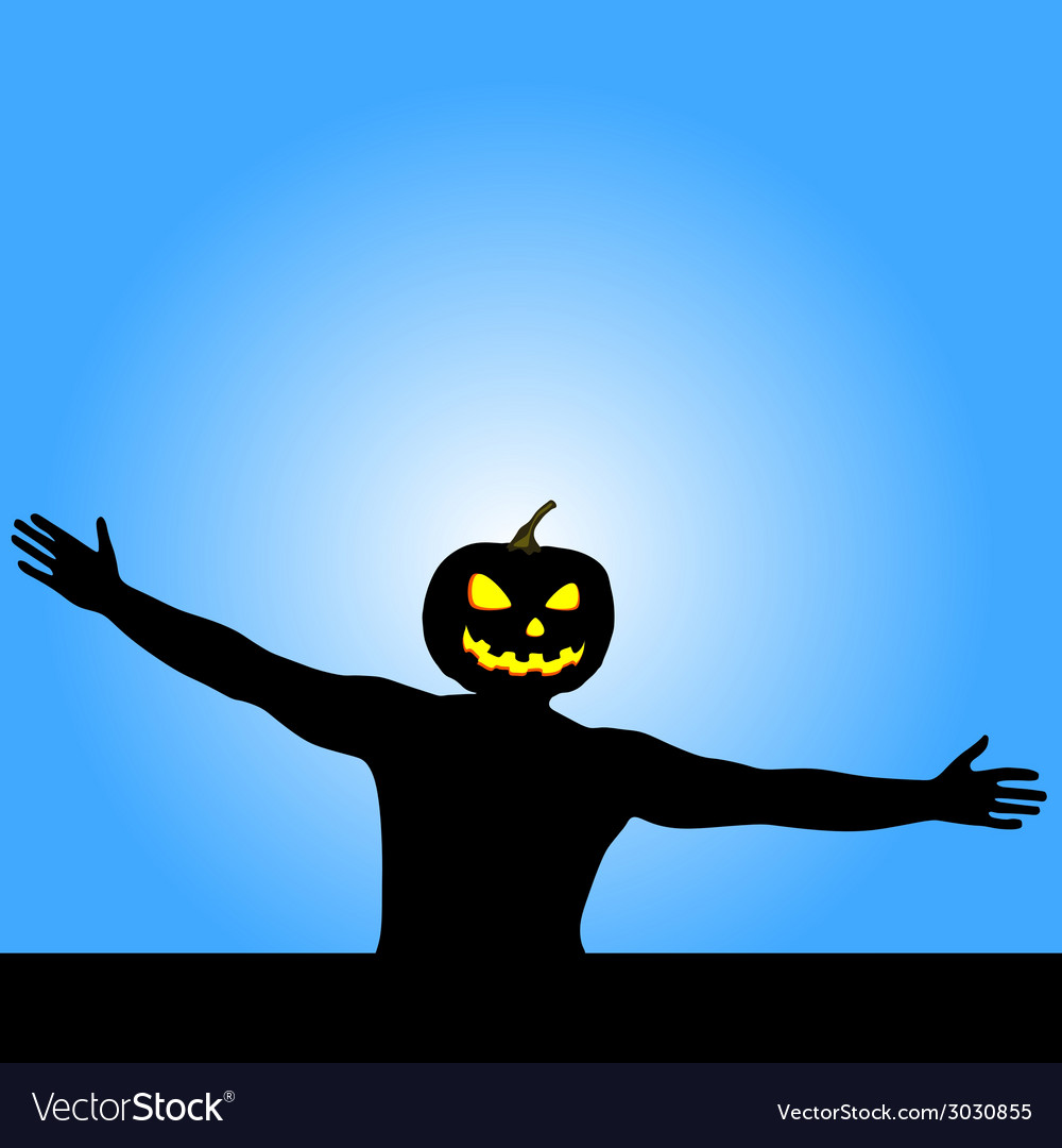 Man with pumpkin head silhouette vector | Price: 1 Credit (USD $1)