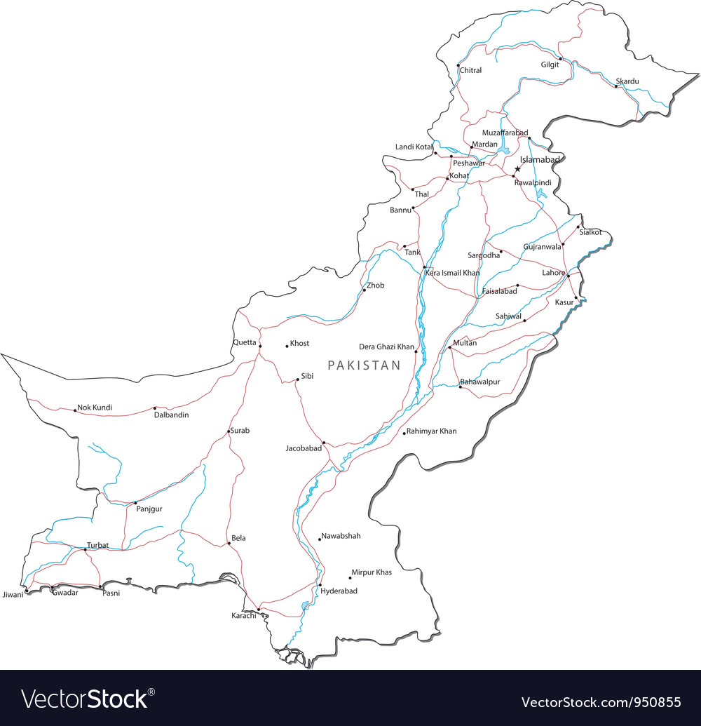 Pakistan black white map vector | Price: 1 Credit (USD $1)
