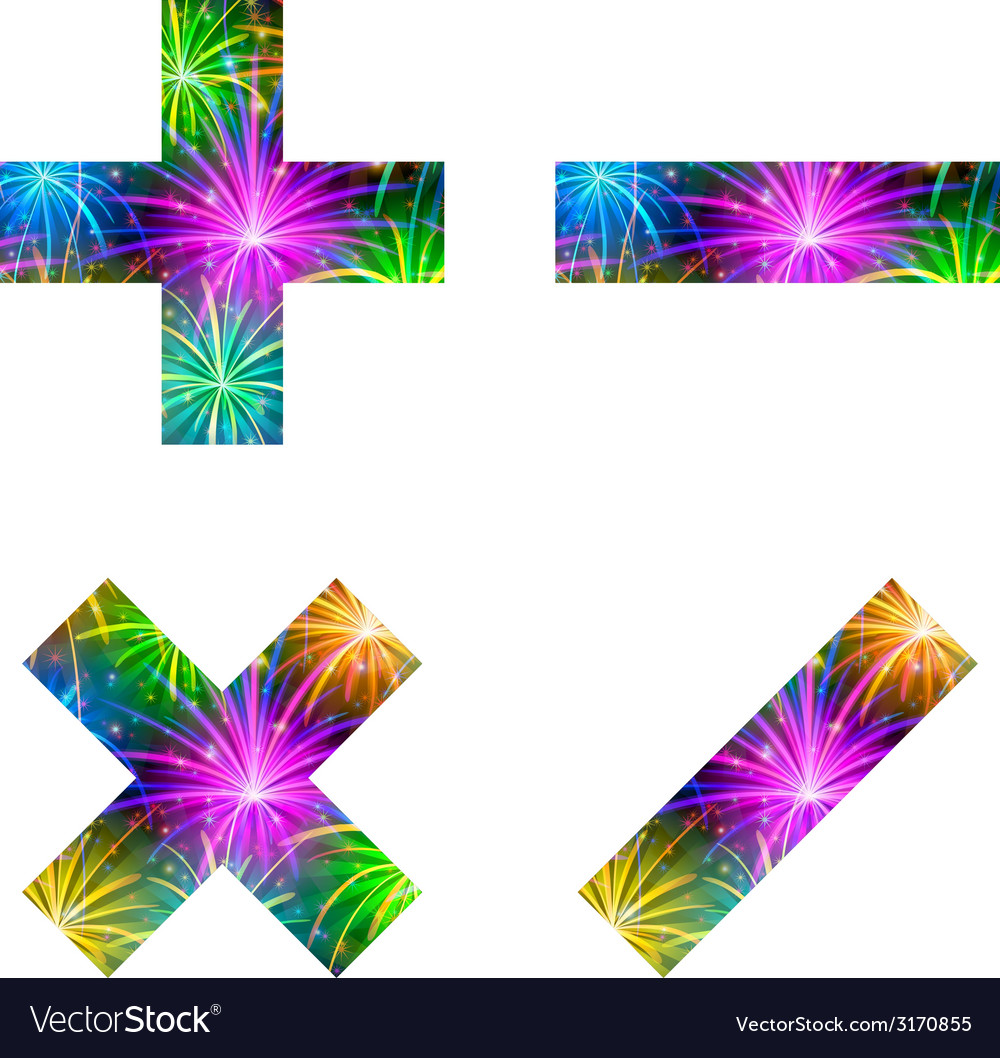 Set of mathematical signs firework vector | Price: 1 Credit (USD $1)