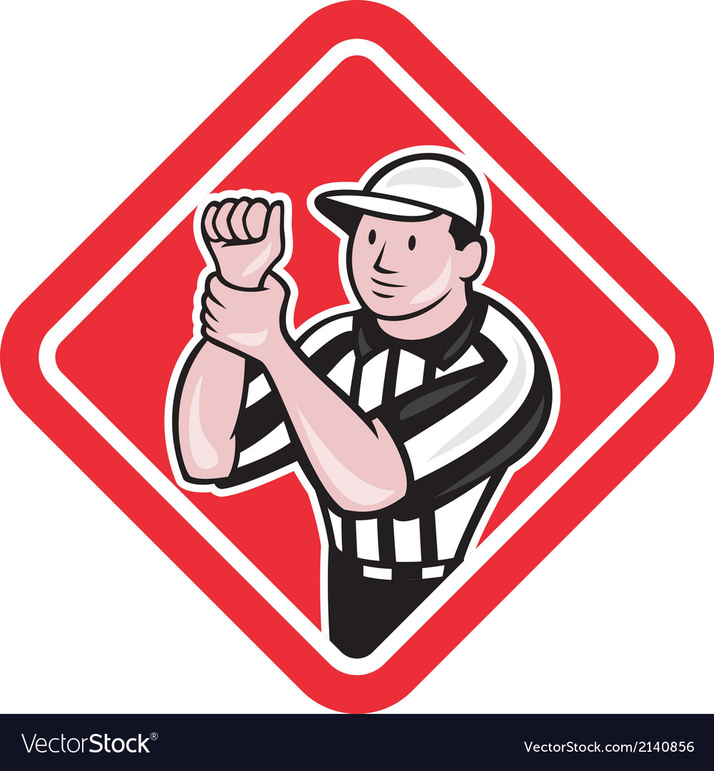 American football referee illegal use hands vector | Price: 1 Credit (USD $1)