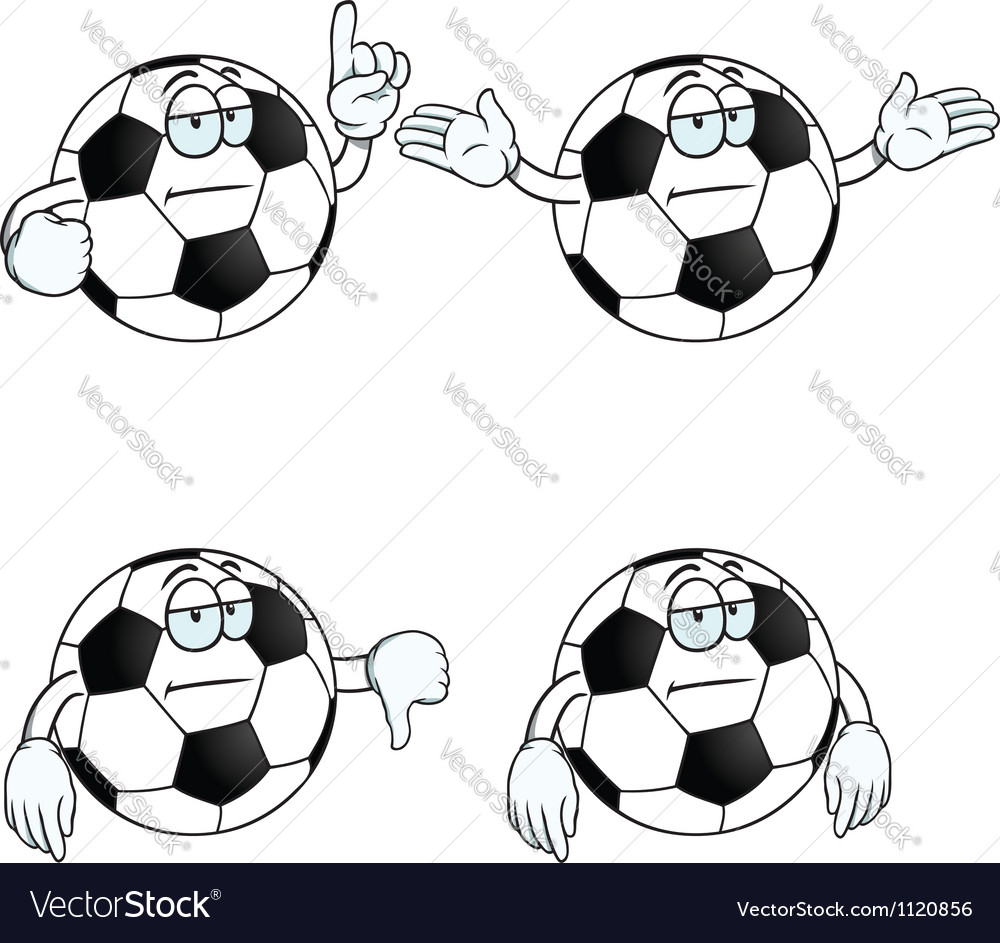 Bored cartoon football set vector | Price: 1 Credit (USD $1)