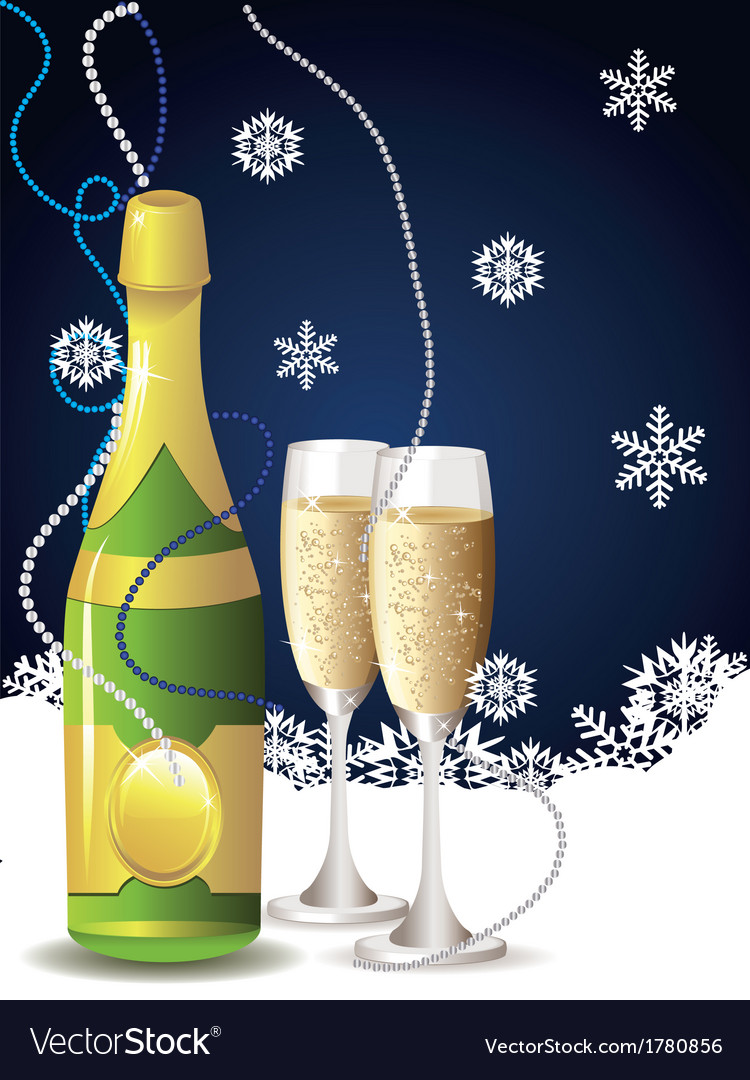 Card with champagne2 vector | Price: 1 Credit (USD $1)