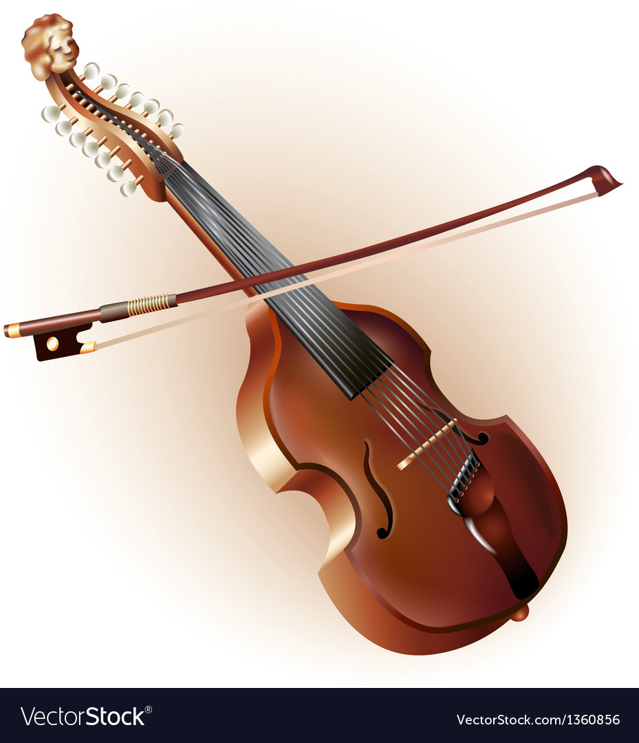 Classical viola d amore isolated on white vector | Price: 3 Credit (USD $3)