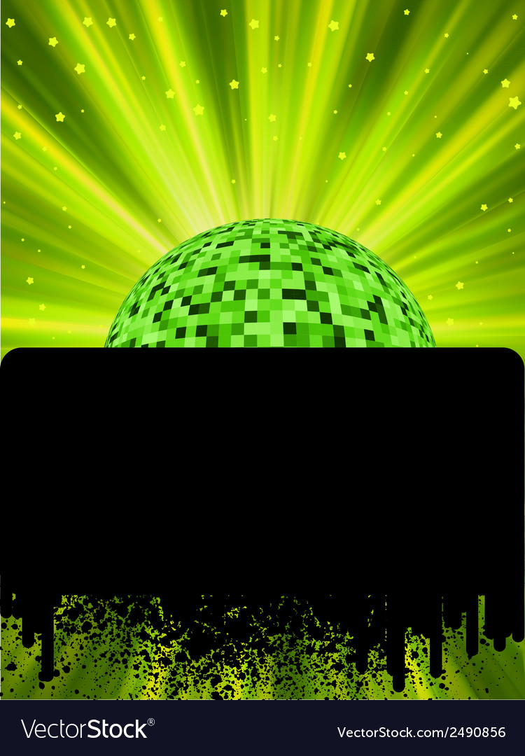 Disco ball poster with burst rays eps8 vector | Price: 1 Credit (USD $1)