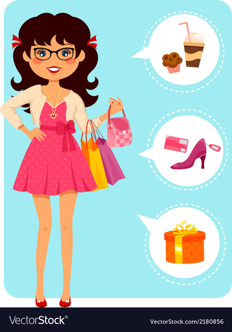 Girl at the mall vector | Price: 1 Credit (USD $1)