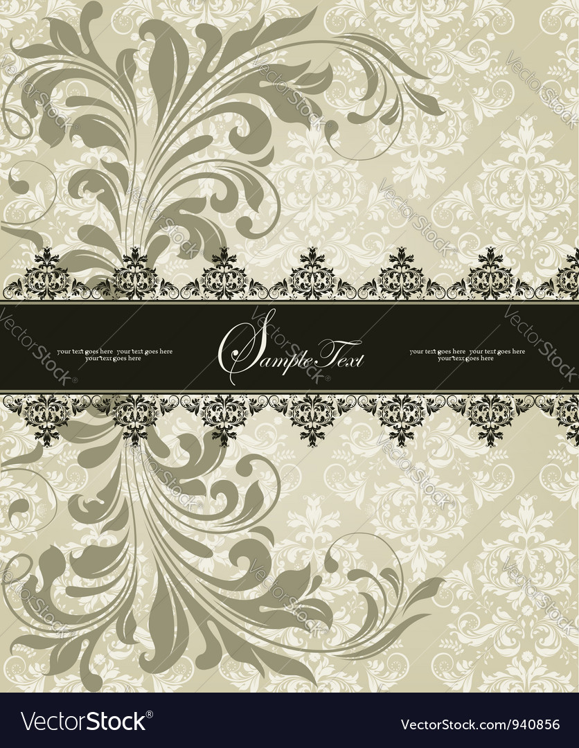 Invitation vintage card with floral ornament vector | Price: 1 Credit (USD $1)