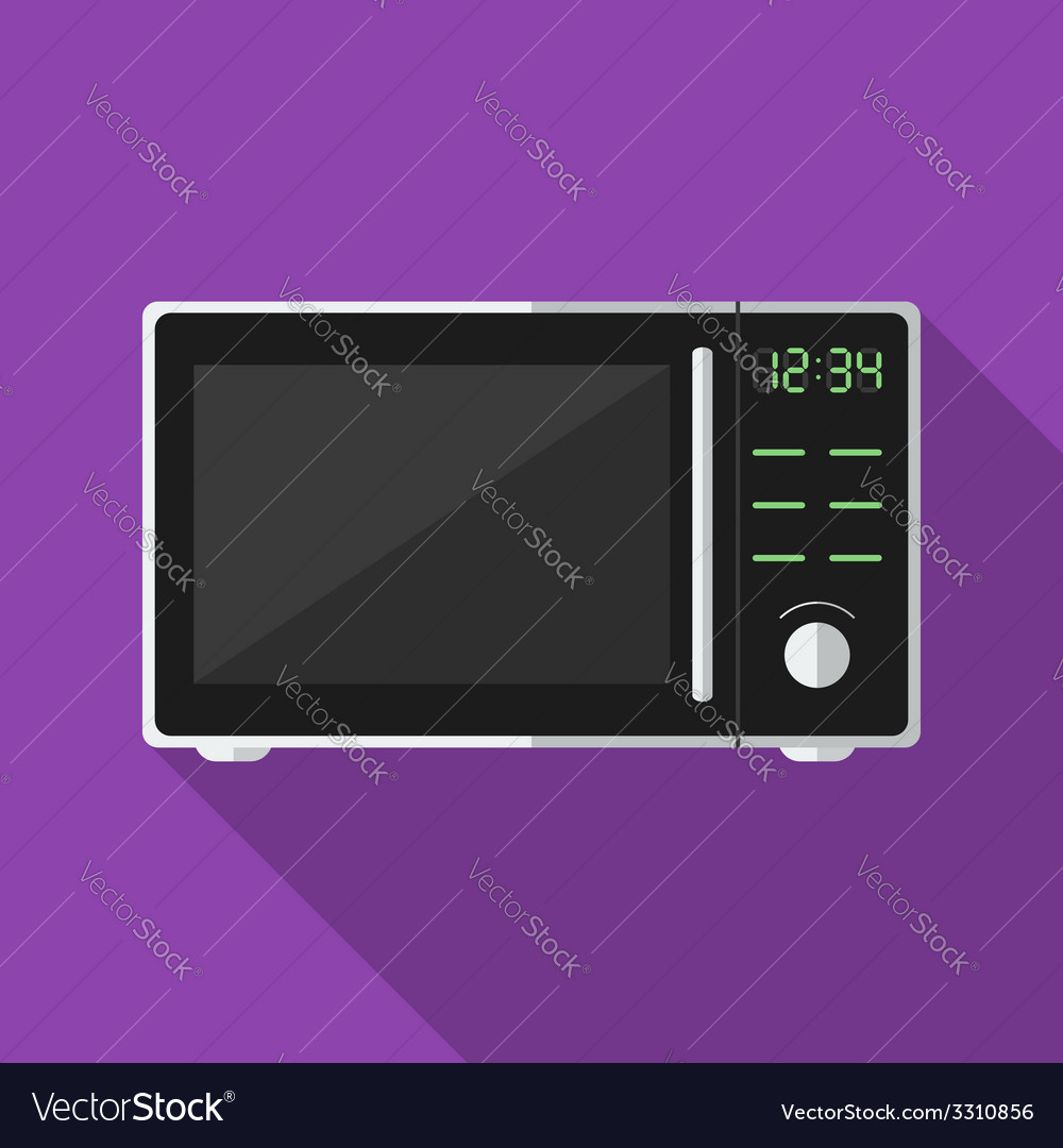 Microwave with long shadow icon vector | Price: 1 Credit (USD $1)