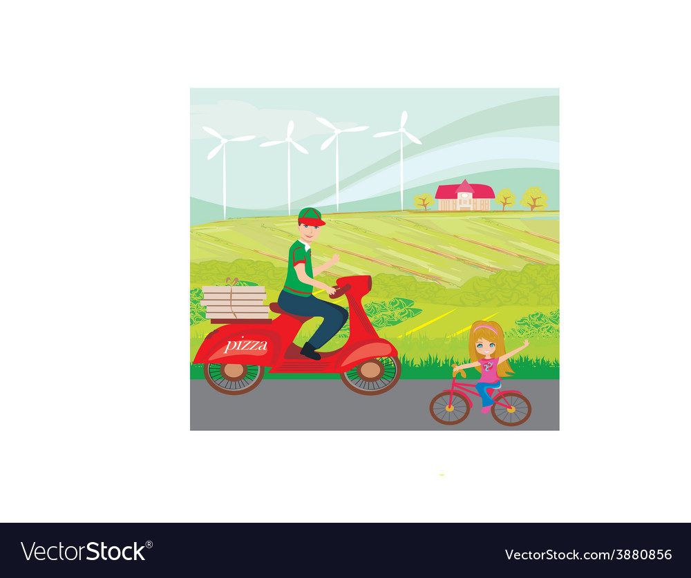 Pizza delivery man on a motorcycle and sweet vector | Price: 1 Credit (USD $1)