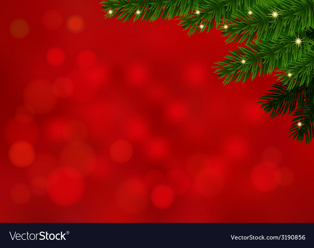 Red background with fir branch and sparkles vector | Price: 1 Credit (USD $1)