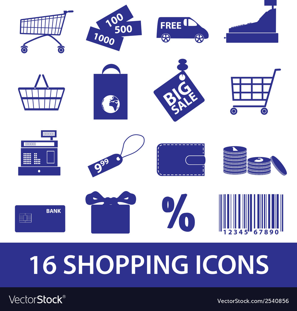 Shopping icons set eps10 vector | Price: 1 Credit (USD $1)