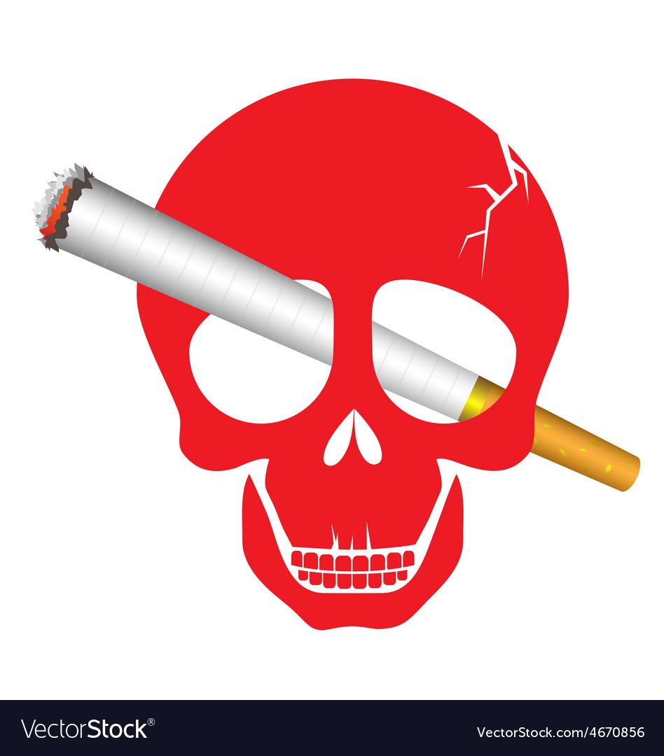 Skull danger with cigarette for world no tobacco vector   Price: 1 Credit (USD $1)