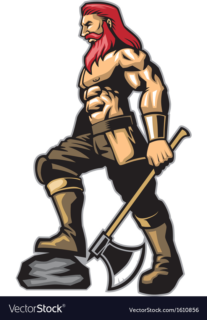 Warrior standing hold an axe vector | Price: 3 Credit (USD $3)