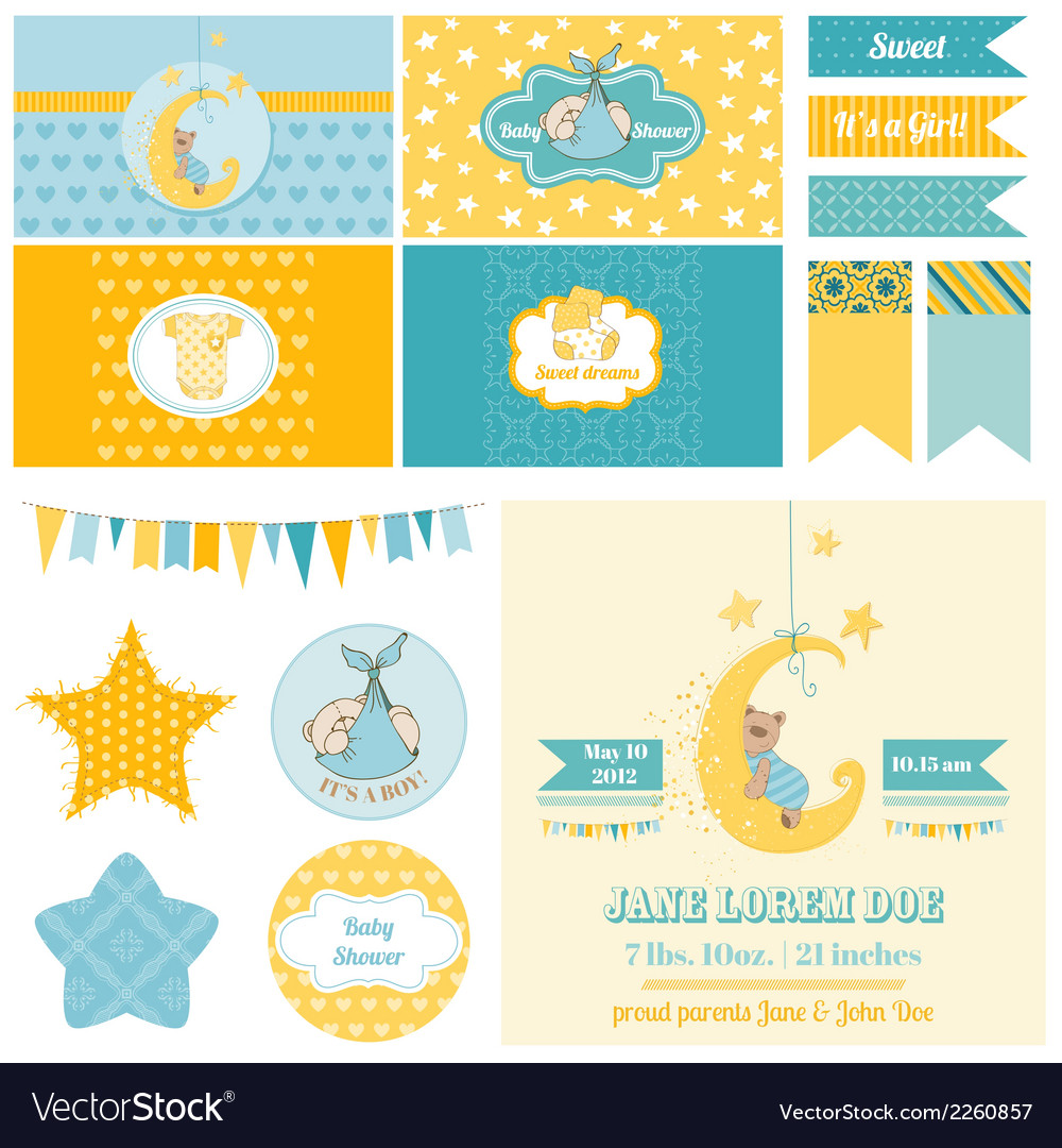 Baby shower sleeping bear theme vector | Price: 3 Credit (USD $3)