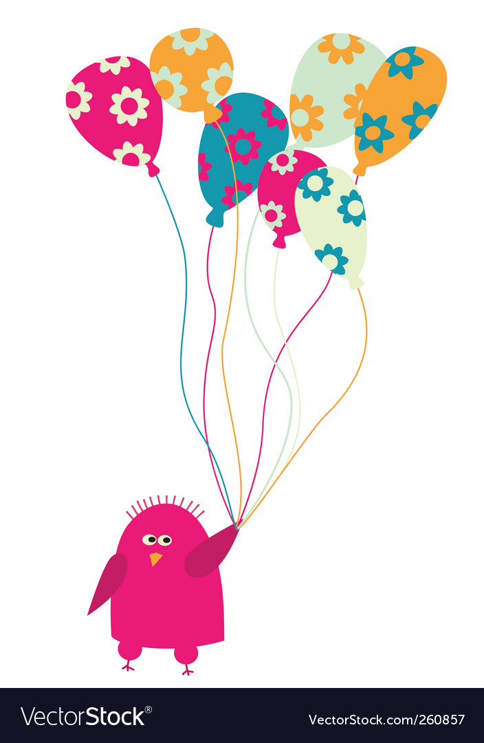 Bird with balloons vector | Price: 1 Credit (USD $1)
