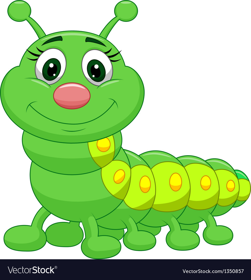 Cute green caterpillar cartoon vector | Price: 1 Credit (USD $1)