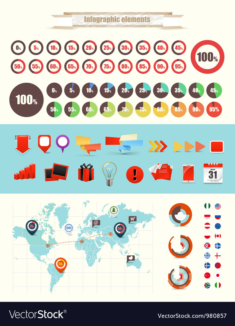 Infographic elements collection vector | Price: 1 Credit (USD $1)